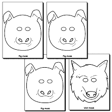 3 little pigs and wolf masks coloring page wecoloringpage
