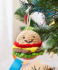 happy hamburger ornament