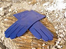 modré dámské kožené rukavice s hedvábnou podšívkou celoroční