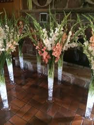 Tall Glass Vase Flower Arrangement White Gladioli Wedding Centrepiece Wedding Pinterest