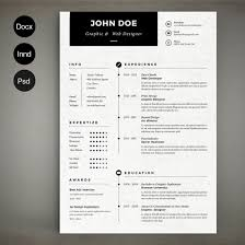 Resume Templates For Indesign Resume Template Indesign Resume Cover Letter Template