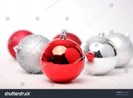 red and silver christmas ornaments isolated on white stock photo