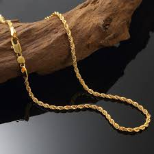 rope chain necklace men images Solid 24k yellow gold filled rope chain necklace men women jpg