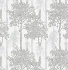 white and silver trees wallpaper paste the wall textured tree