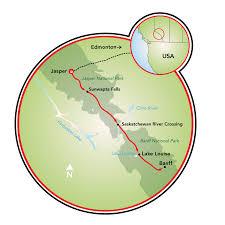 Banff National Park Map Jasper To Banff Bike Tour Canada Tripsite