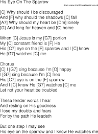 song lyrics with guitar chords for his eye is on the sparrow c