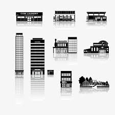 city building sketch flat black silhouette png and vector for