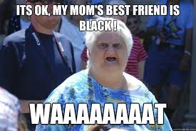 Old Lady College Meme - its ok my mom s best friend is black waaaaaaaat old lady wat