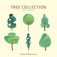 trees collection in 2d style vector free