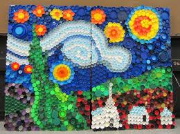 Mural Art Designs by Mrs Art Teacher Every Cap Counts Our Bottle Cap Mural