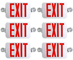 exit emergency light combo 6 pack tbf all led decorative red white exit sign emergency light