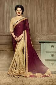 color designer deepika sing wine color designer party wear saree