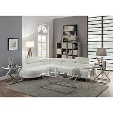 Upholstery Sectional Sofa Horki 2 White Faux Leather Upholstered Sectional Sofa Free