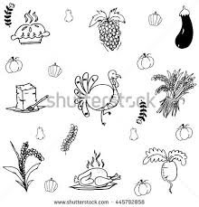 doodle thanksgiving turkey vegetable vector stock vector
