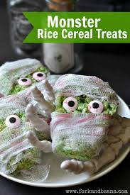 green monster rice cereal treats gluten free vegan fork and beans