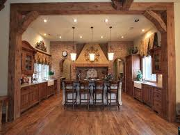 rustic kitchen cupboards brown stone backsplash wooden cabinets