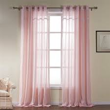 Modern Pattern Curtains Modern Light Pink Solid Pattern Cotton Sheer Curtains