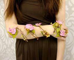 flower wrap cuff flower arm band pink and gold flower cuff
