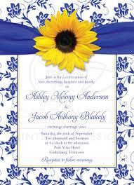 Royal Wedding Invitation Card Wedding Invitation Sunflower Damask Royal Blue Yellow