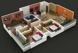 3 bedroom home floor plans insight of 3 bedroom 3d floor plans in your house or apartment design