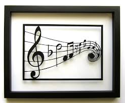 music notes silhouette paper cutout in black graduation gift