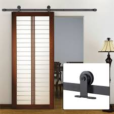 Closet Door Hardware Interior Sliding Barn Door Hardware 6 Ft Black Carbon Steel