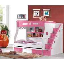 kids bedroom chic white pink girls bunk bed design for cheerful