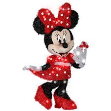 Christmas Yard Decorations Lowes by Shop Gemmy Pre Lit Minnie Mouse With Twinkling Clear White