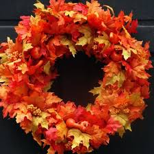 hues of orange this fall leaves wreath is full of faux autumn leaves in hues of