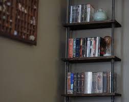 wood pipe bookshelf etsy
