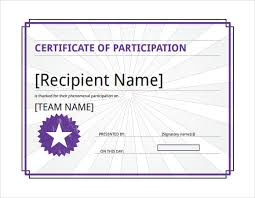 pink and blue fancy certificate of participation templates by