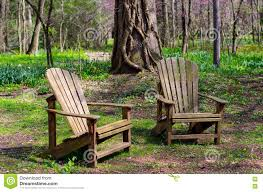 Colored Adirondack Chairs Pair Of Adirondack Chairs In The Woods Stock Photo Image 73788278