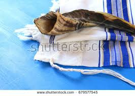 shofar tallit prayer shawl tallit shofar horn stock photo 679577545