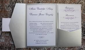 Wedding Invitations In Spanish Silver Eggplant U0026 Lavender Swirls U0026 Scrolls Spanish Pocketfolds