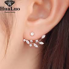 style of earrings korean style earrings 2016 new zircon leaves shape stud