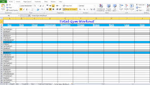 Spreadsheet Components Gym Workout Plan Spreadsheet For Excel Excel Tmp