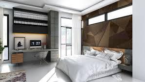 bedroom brown wooden floor dark blue matresses dark blue wall