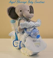 elephant baby shower centerpiece motorcycle diaper cake