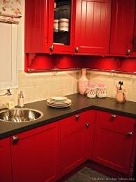 Red Tile Backsplash - kitchen kitchen cabinets traditional red tile backsplash black