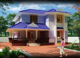 modern 3d contemporary house design with blue and white