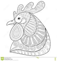 zentangle cartoon rooster or hand drawn sketch for c