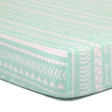 mint tribal fitted crib sheet