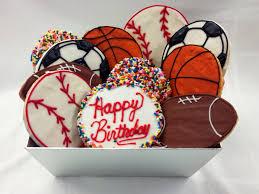 cookie basket hey sport happy birthday cookie basket manny s cafeteria