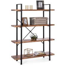 what of wood is best for shelves best choice products 4 shelf industrial open bookshelf for living room office w wood shelves metal frame brown black