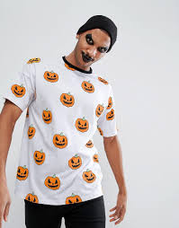 halloween t shirts for men asos halloween oversized t shirt with all over pumpkin print in