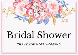 gift card bridal shower wording bridal shower thank you notes archives thank you note wording