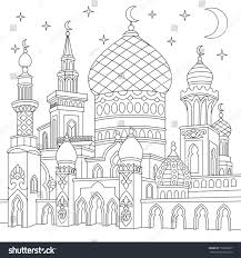 coloring page turkish mosque crescent moons stock vector 718020907