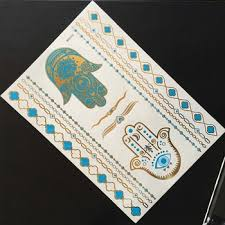 mixed order supported temporary metallic blue gold glitter tattoo