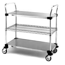 Wire Shelf Cart Cart 2 Stainless Steel Serving Cart Hayneedle
