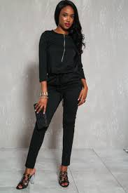 casual jumpsuit black sleeves casual jumpsuit